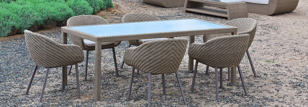 marbella furniture collection. maldives dining table with monsoon lounge chairs marbella furniture collection